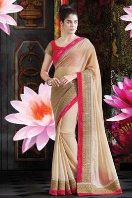 Beige foil georgette saree with gold & pink saree border-SR5728