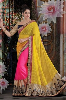 Pink georgette designer saree with yellow Embroideried Net pallu-SR5730
