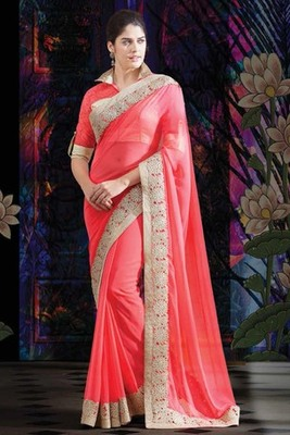 Peach georgette stone worked saree with gold & peach combo blouse -SR5737