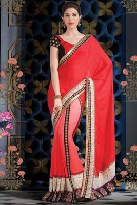 Pink & red georgette designer saree with red self weaved pallu-SR5738