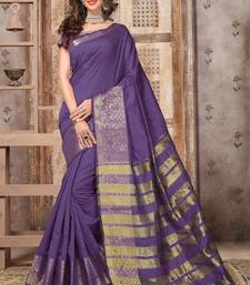 Buy Purple woven silk saree with blouse banarasi-silk-saree online