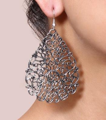 Silver Stencil Filigree Earrings