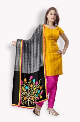 Chanderi Salwaar Kameez With Pintucks & Resham Embroidery (Fabric Only) - E0301019