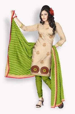 Chanderi Salwaar Kameez With Resham Embroidery & Zari Embroidery (Fabric Only) - E0301023