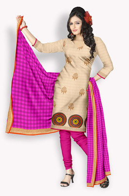 Chanderi Salwaar Kameez With Resham Embroidery & Zari Embroidery (Fabric Only) - E0301025