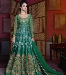 Buy Green embroidered silk salwar with dupatta abaya-suit online