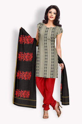 Tussar Salwaar Kameez With Resham Embroidery (Fabric Only) - E0301060