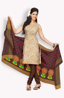 Tussar Salwaar Kameez With Resham Embroidery & Zari Embroidery (Fabric Only) - E0301067