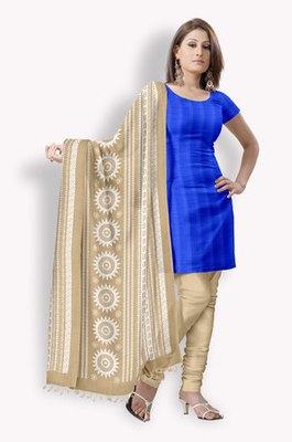 Chanderi Salwaar Kameez With Pintucks & Resham Embroidery (Fabric Only) - E0301084