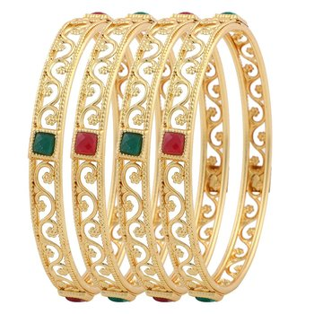 Beautiful Gorgeous Gold Plated Bangles for Women & Girls (Pack of 4)