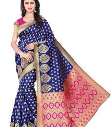 Buy Blue banarasi saree with blouse jacquard-saree online