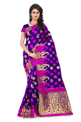 Purple woven banarasi art silk saree with blouse