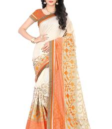 Buy White embroidered chanderi silk saree with blouse chanderi-saree online