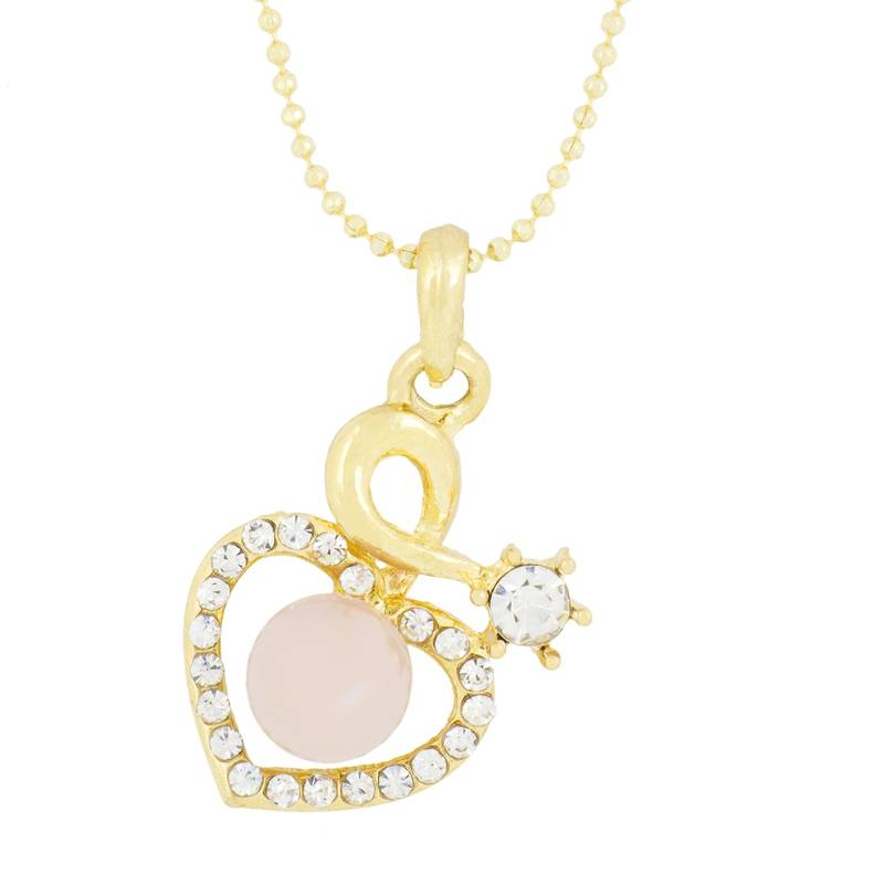 Rol\u00f2 Tonda 4 mm Gold Chain necklace with Marble Pink Glazed Heart Charm with 18 mm Golden Pearls and two golden hearts
