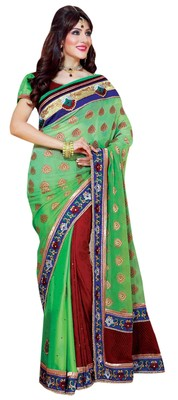 Green Border Worked Velvet,Viscose,Jacquard,Satin,Chiffon Saree With Blouse