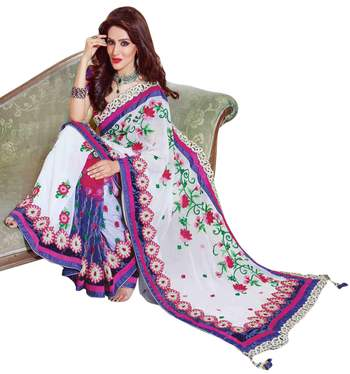 Off White Embroidered Faux Georgette,Net Saree With Blouse