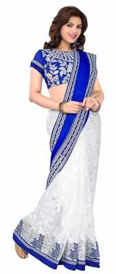 Off White Border Worked Brasso,Velvet Saree With Blouse