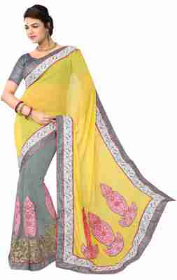 Grey Border Worked Faux Georgette,Net Saree With Blouse