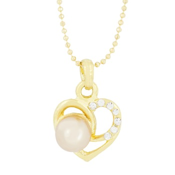 Heart CZ 18K Gold Brass American Diamond Pearl Necklace Pendant Chain Set Girls Women
