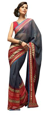 Grey Printed Faux Georgette Saree With Blouse