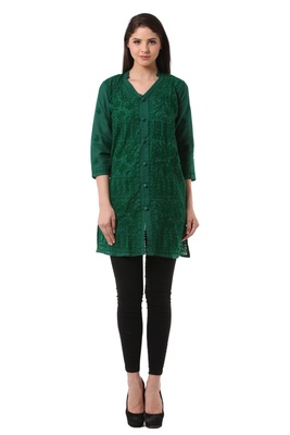 Green embroidered Pure Cotton stitched kurti