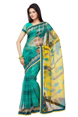 Green Printed Supernet Saree With Blouse