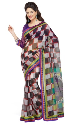 Multi Printed Supernet Saree With Blouse