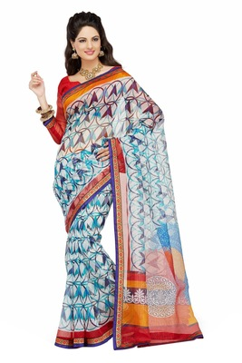 Off White Printed Supernet Saree With Blouse