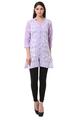 Purple embroidered Pure Cotton stitched kurti
