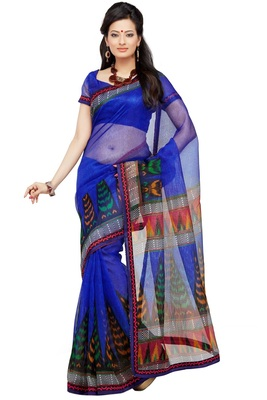 Blue Printed Supernet Saree With Blouse