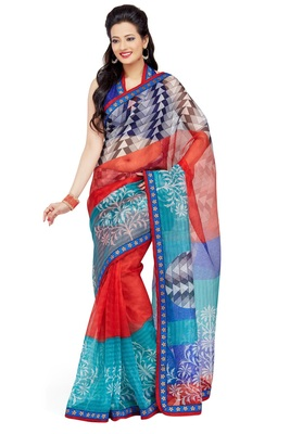 Red Printed Supernet Saree With Blouse