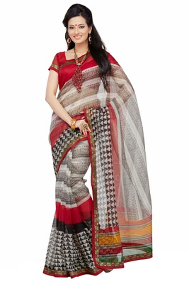 Beige Printed Supernet Saree With Blouse