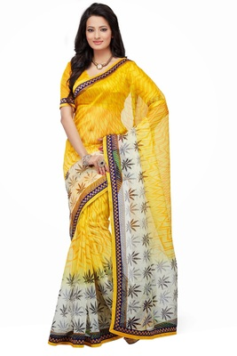 Yellow Printed Supernet Saree With Blouse