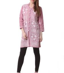 Pink embroidered Pure Cotton stitched kurti