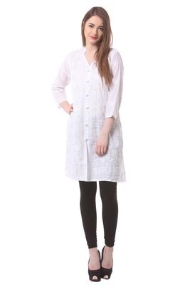White embroidered Pure Cotton stitched kurti