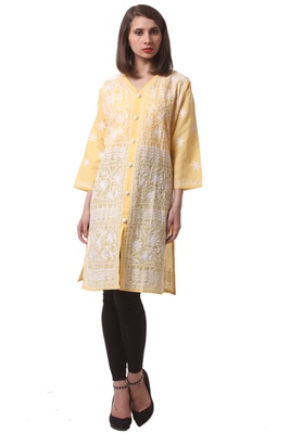 Yellow embroidered Pure Cotton stitched kurti