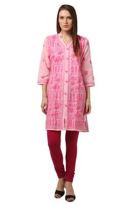 Pink embroidered Pure Cotton stitched kurti