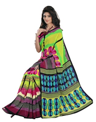 Multi Printed Faux Georgette Saree With Blouse