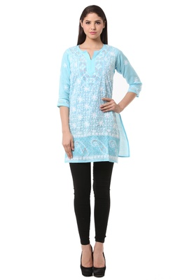 Blue embroidered Pure Cotton stitched kurti