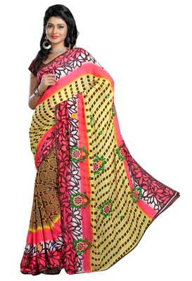 Multi Printed Chiffon Saree With Blouse