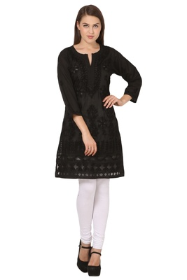 Black embroidered Pure Cotton  stitched kurti
