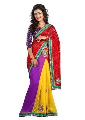 Yellow Embroidered Net,Brasso,Faux Georgette,Chiffon Saree With Blouse