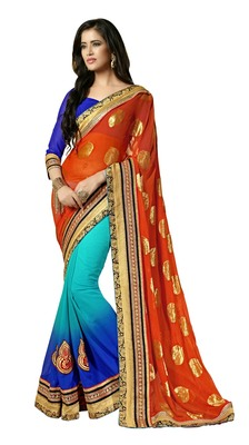 Multi Border Worked Chiffon Saree With Blouse