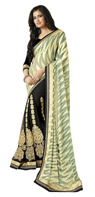 Black Border Worked Chiffon Saree With Blouse
