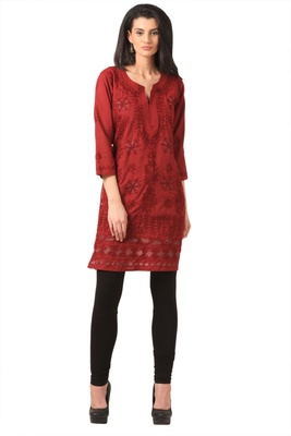 Maroon embroidered Pure Cotton  stitched kurti