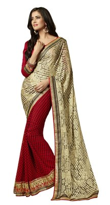 Red Border Worked Chiffon Saree With Blouse