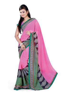 Light Pink Colored Chiffon Printed Saree