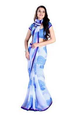 White & Blue Colored Faux Georgette Chiffon Printed With Lace Border Saree
