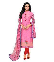 Buy Pink printed art silk salwar with dupatta dress-material online