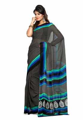 Black Colored Chiffon Printed Saree